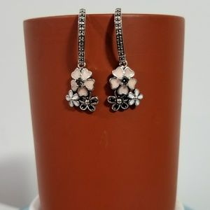 Jewelry - Pink, white and black silver dangly earrings